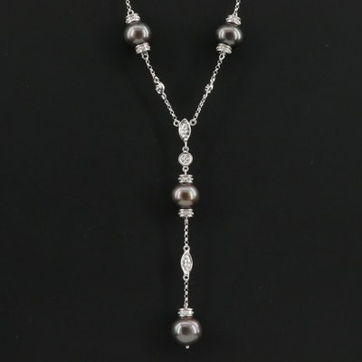 14K White Gold Cultured Pearl and Diamond Station Necklace