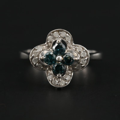 14K White Gold Blue Diamond and Diamond Ring