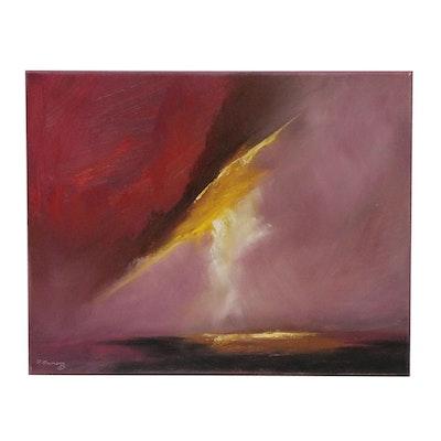 "Rebecca Manns Oil Painting ""Kinetic Red Skies"", 2019"