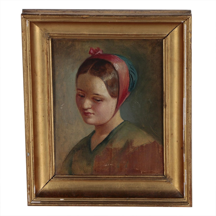 Oil Portrait Painting of Young Woman