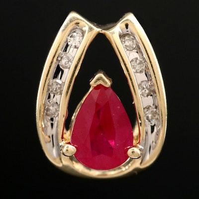 14K Yellow Gold Ruby and Diamond Slide Pendant