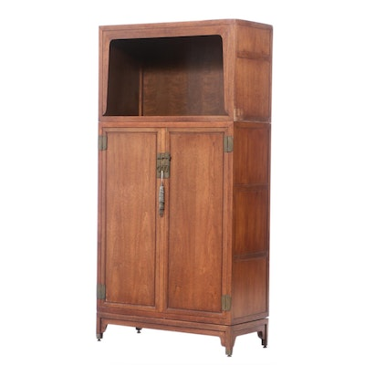 Baker Furniture, Chinese Style Stained Hardwood Double Cabinet-on-Stand