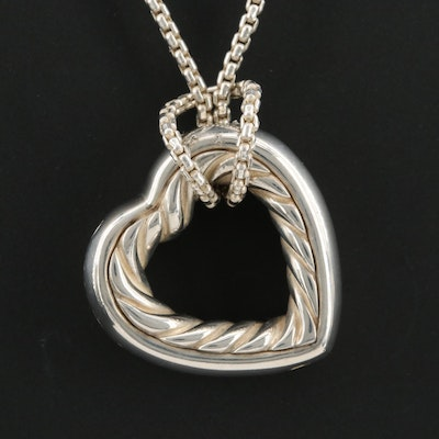 David Yurman Sterling Open Heart Cable Necklace with 18K Yellow Gold Accents