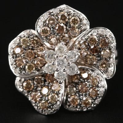 14K White Gold 1.63 CTW Diamond Flower Ring