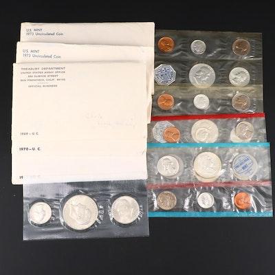 Nine U.S. Mint Uncirculated Sets, Including Silver