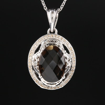 Sterling Silver Smoky Quartz and White Topaz Pendant Necklace