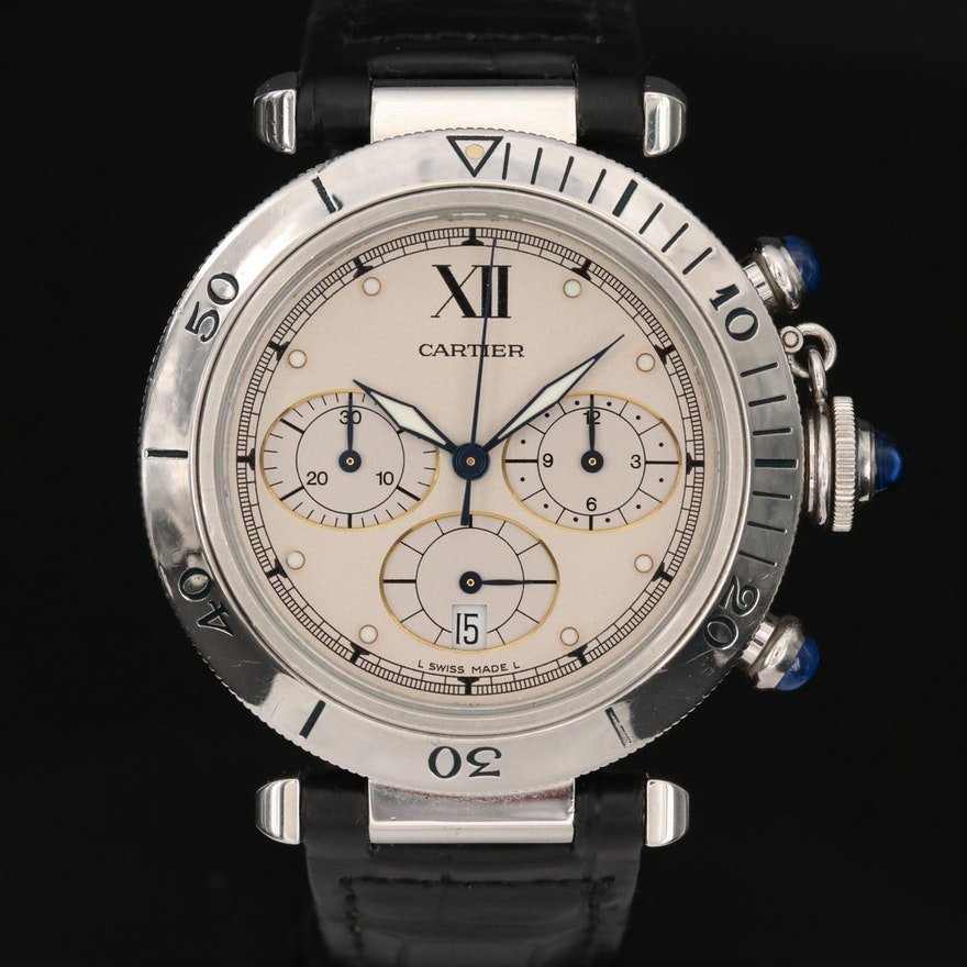 Cartier Pasha de Cartier Chronograph Stainless Steel Wristwatch with Date