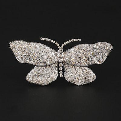 18K White Gold 14.72 CTW Diamond Butterfly Brooch