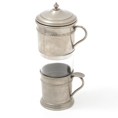 Individual Metal Coffee and Tea Percolator with Glass Insert