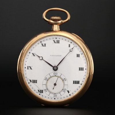 Antique 14K Gold Hamilton Pocket Watch With Case, Circa 1916