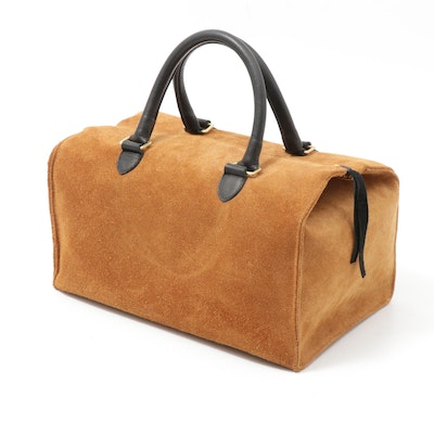 Clare V. Los Angeles Tan Suede and Black Leather Top Handle Bag