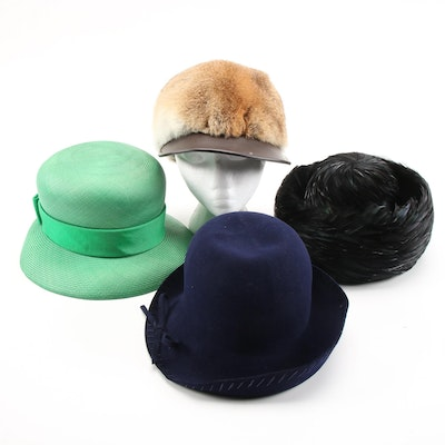Betmar, Jan Leslie and Shillito's Hats with Rabbit Fur Cap and Hat Boxes