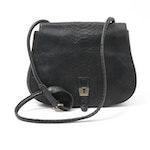 Henri Bendel Black Snake Print Embossed Leather Flap Front Crossbody Bag