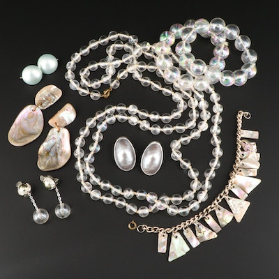 Vintage Jewelry Assortment Featuring Abalone and Lucite