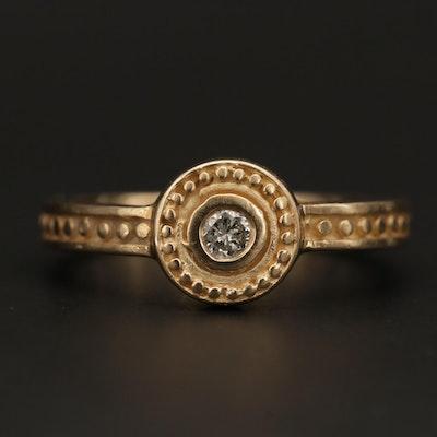 14K Yellow Gold 0.08 CT Diamond Ring