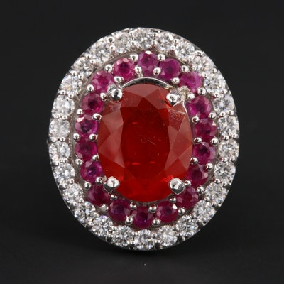 14K White Gold Fire Opal, Ruby and 1.04 CTW Diamond Cocktail Ring