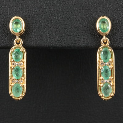 Sterling Silver Emerald and Topaz Earrings