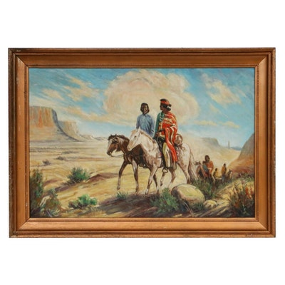 Southwestern Landscape with Figures Oil Painting, Mid 20th Century
