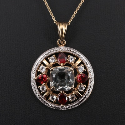 Sterling Silver Praseolite, Garnet, and White Topaz Pendant Necklace