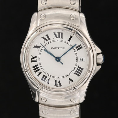 Cartier Santos Ronde Stainless Steel Automatic Wristwatch