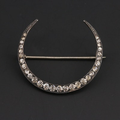 Vintage Sterling Paste Crescent Brooch