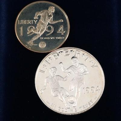 1994 World Cup Commemorative Silver Dollar and Clad Half Dollar Set