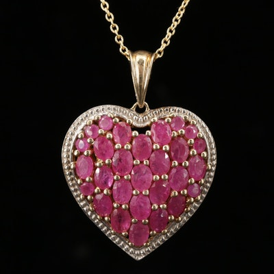 Sterling Silver Corundum Heart Pendant Necklace