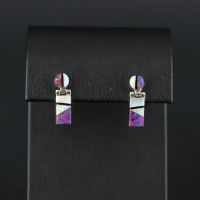 Southwestern Sterling Silver Mother Of Pearl, Turquoise and Opal Earrings