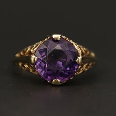 14K Yellow Gold Amethyst Filigree Ring