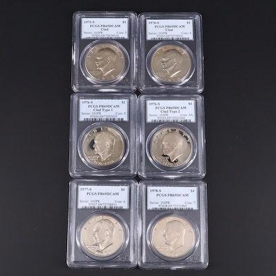Six PCGS Graded PR69DCAM Eisenhower Dollars