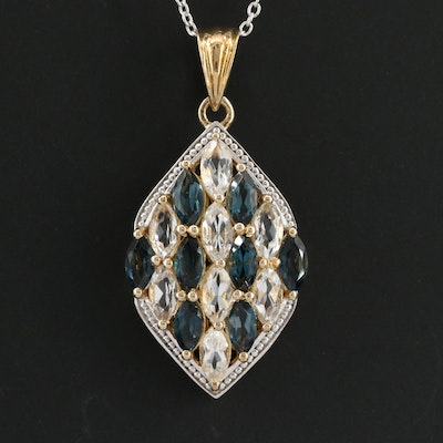 Sterling Silver White and Blue Topaz Pendant Necklace