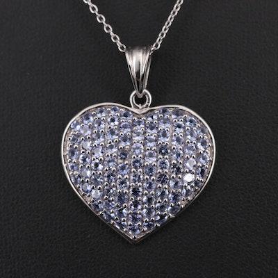 Sterling Silver Tanzanite Heart Pendant Necklace