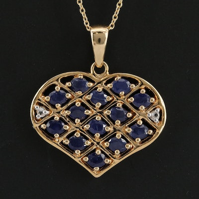 Sterling Silver Corundum and White Topaz Heart Pendant Necklace