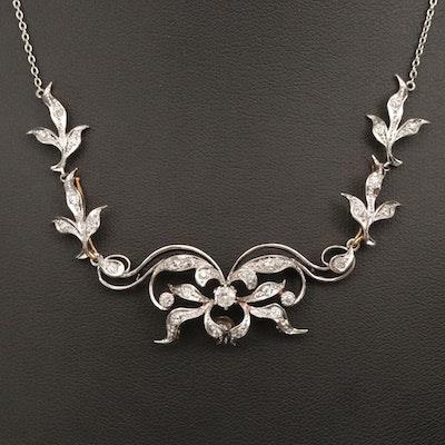 Edwardian Platinum and 14K Yellow Gold 1.04 CTW Diamond Necklace