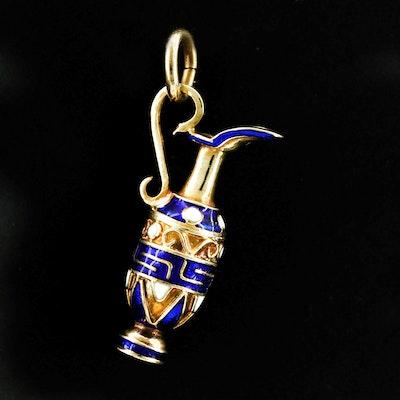 14K Yellow Gold Enamel Vase Pendant
