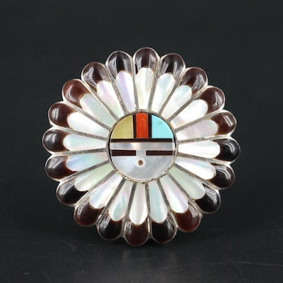 Southwestern Sterling Turquoise, Coral and Mother Of Pearl Converter Brooch