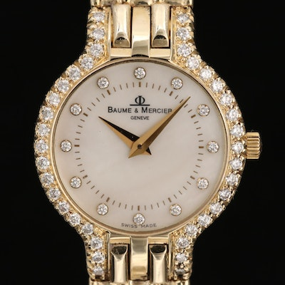 Baume & Mercier 14K Yellow Gold and Diamond Quartz Wristwatch