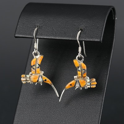 Southwestern Sterling Silver Spiny Oyster and Opal Hummingbird Earrings