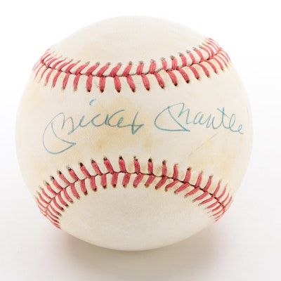 Mickey Mantle Signed American League Baseball  Visual COA