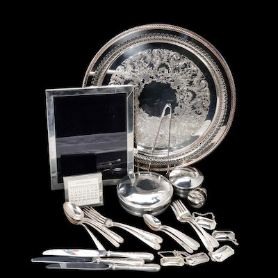 Salisbury Pewter Box with Kirk Steiff Silver Plate Utensils and Other Barware
