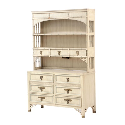"Dixie Furniture, ""Shangri-La"" White-Washed and Blue-Trimmed Low Chest with Hutch"
