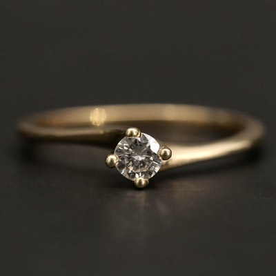 14K Yellow Gold 0.17 CT Diamond Solitaire Ring