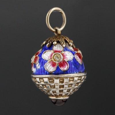 Sterling Silver Rhodolite Garnet and Rhinestone Floral Egg Pendant