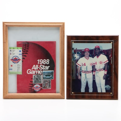 1988 Major League All Star Game Items with Rose and Davis Signed Photo Print
