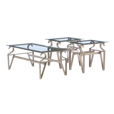 Glass Top Scrolled Metal Coffee Table and End Tables, Contemporary