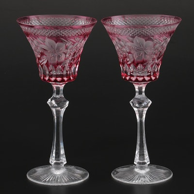 Knittel Cranberry Cut to Clear Crystal Goblets