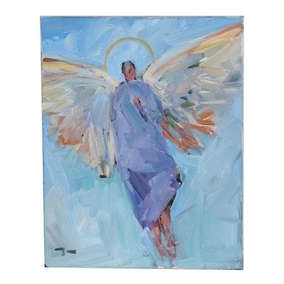 "Jose Trujillo Oil Painting ""Flying from Heaven"""