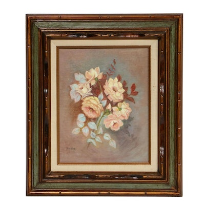 B. White Floral Oil Painting