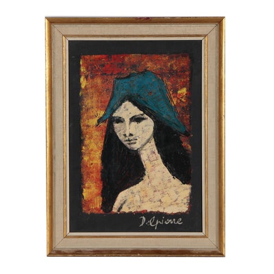 Modernist Female Portrait Oil Painting
