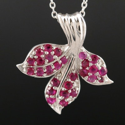 Sterling Silver and Ruby Pendant Necklace
